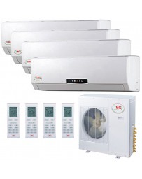 9+9+12+18K YMGI Quad Zone Ductless Mini Split Air Conditioner Heat Pump 208-230V 16 SEER DC Inverter