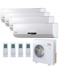 12+12+12+18K YMGI Quad Zone Ductless Mini Split Air Conditioner Heat Pump 208-230V 16 SEER DC Inverter