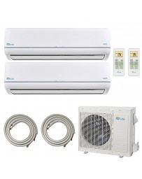9+9K Senville Dual Zone Ductless Mini Split Air Conditioner Heat Pump 208-230V 22.5 SEER DC Inverter with Line Sets
