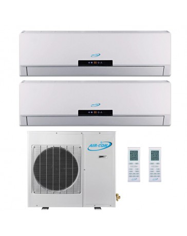 12+12K Air-Con Dual Zone Ductless Mini Split Air Conditioner Heat Pump 208-230V 16 SEER DC Inverter