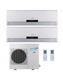 9+12K Air-Con Dual Zone Ductless Mini Split Air Conditioner Heat Pump 208-230V 16 SEER DC Inverter