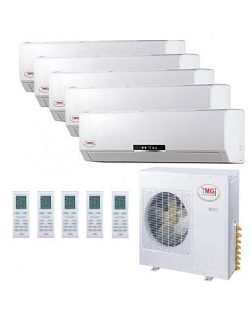 9+9+9+9+24K YMGI Five Zone Ductless Mini Split Air Conditioner Heat Pump 208-230V 16 SEER DC Inverter