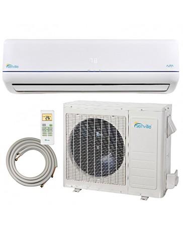 9000 BTU Senville Ductless Mini Split Air Conditioner Heat Pump 208-230V 23 SEER DC Inverter with Line Set
