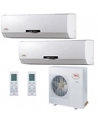 12+18K YMGI Dual Zone Ductless Mini Split Air Conditioner Heat Pump 208-230V 16 SEER DC Inverter