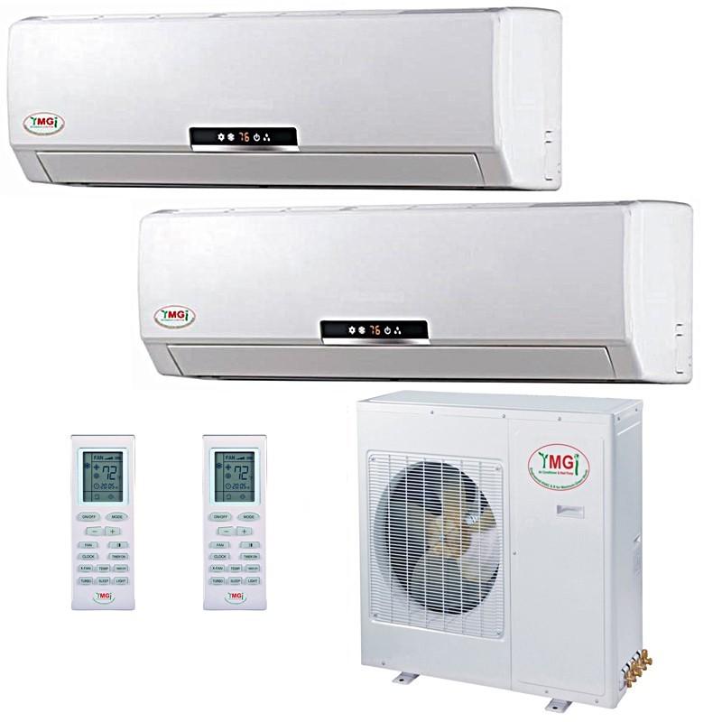 18+18K (42K) YMGI Dual Zone Ductless Mini Split Air Conditioner Heat Pump 208-230V 16 SEER DC ...