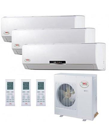 9+12+18K YMGI Tri Zone Ductless Mini Split Air Conditioner Heat Pump 208-230V 16 SEER DC Inverter