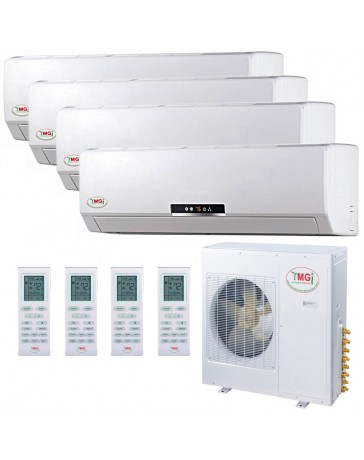 9+12+12+12K YMGI Quad Zone Ductless Mini Split Air Conditioner Heat Pump 208-230V 16 SEER DC Inverter