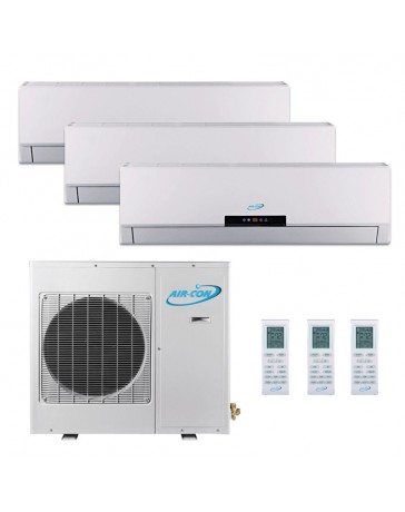 9+12+12K (36K) Air-Con Tri Zone Ductless Mini Split Air Conditioner Heat Pump 208-230V 16 SEER DC Inverter