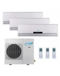 12+12+12K (39K) Air-Con Tri Zone Ductless Mini Split Air Conditioner Heat Pump 208-230V 16 SEER DC Inverter