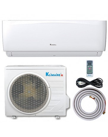 9000 BTU Klimaire Ductless Mini Split Air Conditioner Heat Pump 208-230V 16.4 SEER DC Inverter with Kit