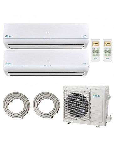 9+9K Senville Dual Zone Ductless Mini Split Air Conditioner Heat Pump 208-230V 21 SEER DC Inverter