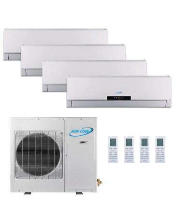 12+12+12+12K Air-Con Quad Zone Ductless Mini Split Air Conditioner Heat Pump 208-230V 16 SEER DC Inverter