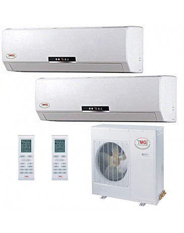 9+9K YMGI Dual Zone Ductless Mini Split Air Conditioner Heat Pump 208-230V 16 SEER DC Inverter