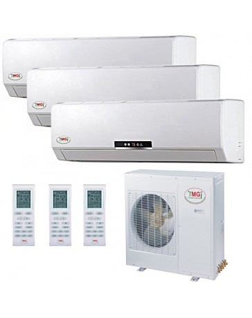 9+12+12K YMGI Tri Zone Ductless Mini Split Air Conditioner Heat Pump 208-230V 16 SEER DC Inverter